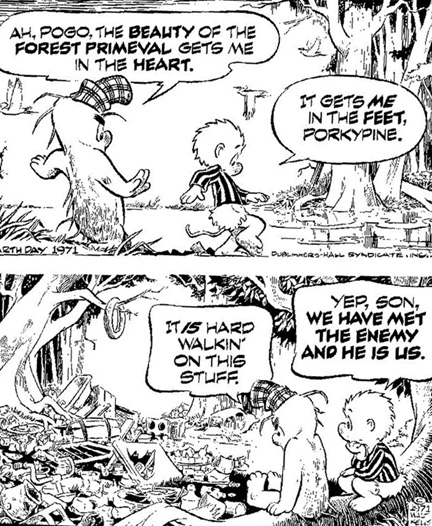 Walt Kelly's Earth Day Pogo cartoon - April 1971