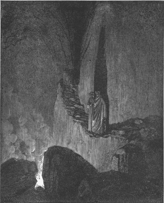 Dante and Virgil and the Flaming Spirits of the Evil Counsellors