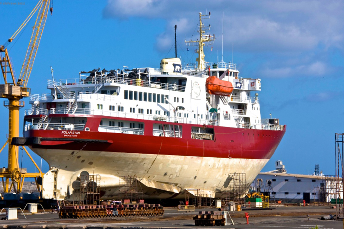 M V Polar Star In Dry Dock Astican Shipyard Las Palmas Canary