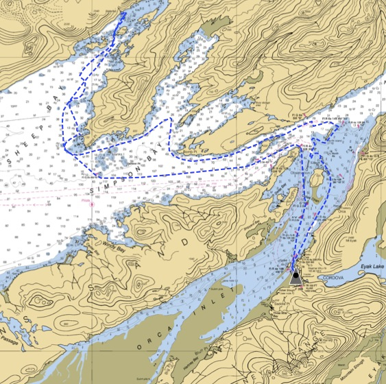 The Auklet Cruise Track May 5, 2012, Courtesy of Captain Janka