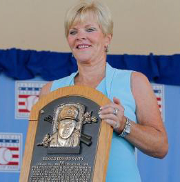 Ron's Widow, Vicki Santo, with Hall of Fame Plaque