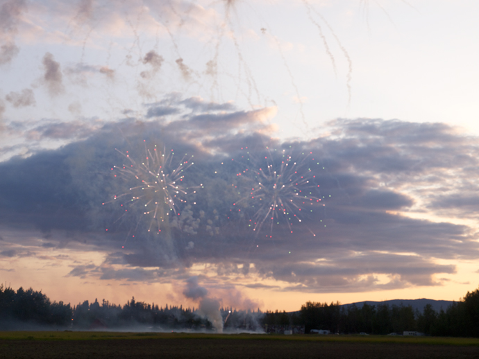 Fireworks in Fairbanks at 9:30 PM