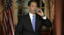 Senator Rubio Drinking Water. Again. Photo by ABC News