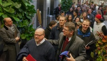 Hundreds line up outside the Weber County clerk's office on first day county began accepting applications for same-sex marriage licenses. Photo: Benjamin Zack /AP