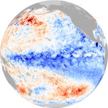 Pacific Ocean Temperatures Showing La Niña, January 2013
