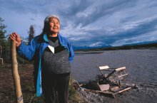 Katie John at her fish camp; photo by Erik Hill, Anchorage Daily News