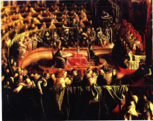 The Trial of Galileo, Church Inquisition Court, Rome, February 1633, by Ljubo Vujovic