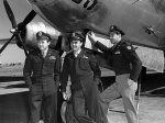 Captain Van Kirk, left, who was known as Dutch, with Col. Paul W. Tibbets Jr., center, and Maj. Thomas W. Ferebee in 1945 after they flew the Enola Gay to Hiroshima to drop an atomic bomb. Credit U.S. Air Force, via Agence France-Press — Getty Images