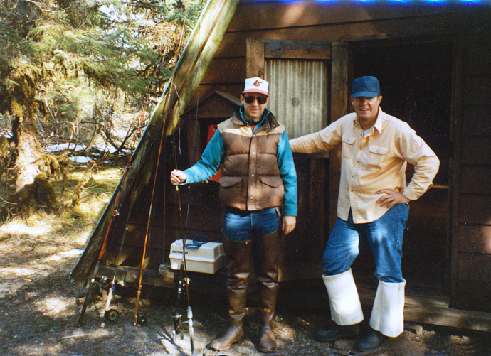 Dick and Mike, Middle Situk River Cabin, Yakutat Forelands, Alaska