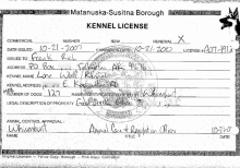Frank Rich's Expired Kennel License, Issued by the Mat Su Borough