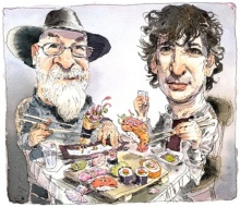 Terry Pratchett and Neil Gaiman illustration by John Cuneo