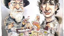 Terry Pratchett and Neil Gaiman illustration by John Cuneo