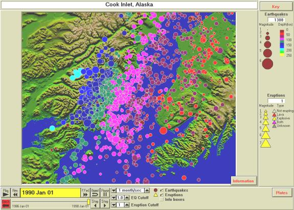 Earthquake Activity, Cook Inlet, 1950 - 1996