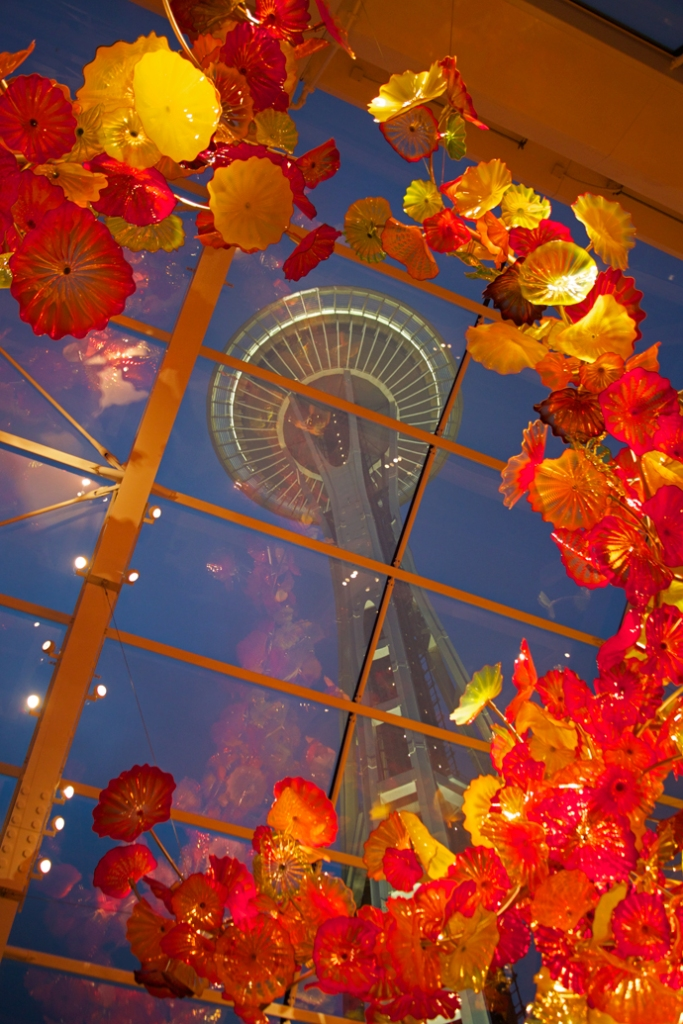 Detail of the abstract kelp, framing the Space Needle