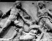 Amazonomachy, Parthenon Metopes, Panel 9, part of the Elgin Marbles, British Museum (Photo by Frozen Feather Images, 1972)