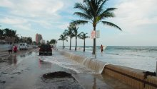 Fort Lauderdale seawall overtopped by high tide