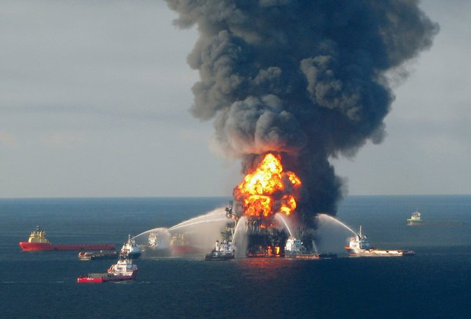 Explosion of BP's Deepwater Horizon oil rig on April 20, 2010 (U.S. Coast Guard) - Not at all what could happen in the Chukchi Sea,of course.