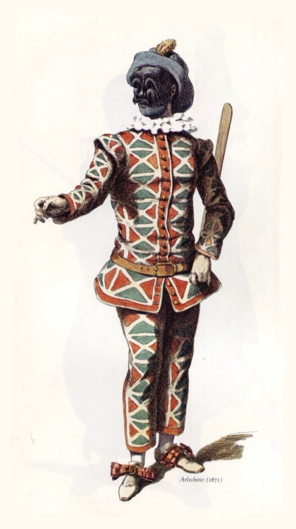 Harlequin stock character in the commedia dell'arte of the 1670s, via WikiCommons