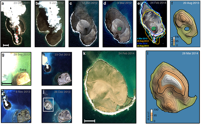 The top row of images shows the evolution of Sholan Island, while the lower images are of Jadid Island. The right-most images show elevation in meters above sea level. Xu et al., Nature Communications