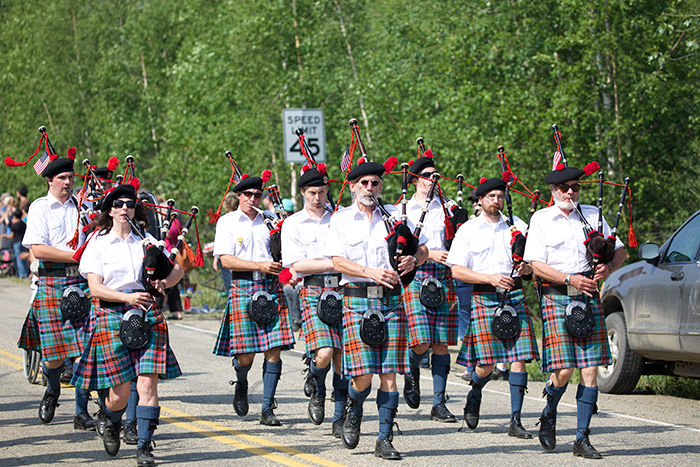 Every Interior Alaska parade – no exceptions! – has to have the Red Hackle Bagpipe Band