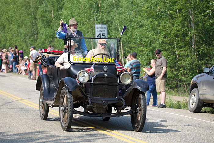 One of Alaska's oldest antique cars, the Cameron brothers Model T. Passenbers include co-owner David Stone