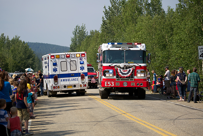 A parade has to have a fire truck; Ester's 2015 parade also featured a medical emergency