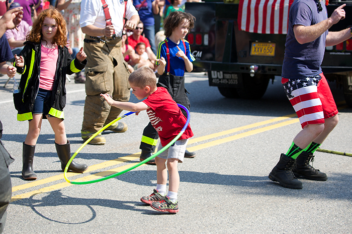 Behind the fire trucks was a group of young – some very young – firefighters who boogied down to an appreciative crowd; the hula hoop kid stole the show