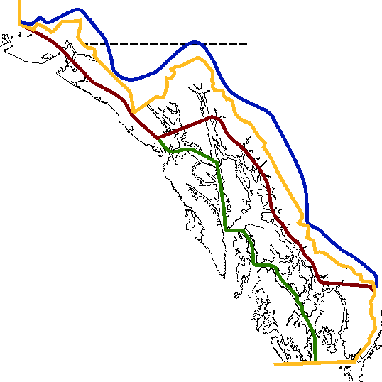 Varying claims in Southeast Alaska before arbitration in 1903. In blue is the border claimed by the United States, in red is the border claimed by Canada and the United Kingdom. Green is the boundary asserted by British Columbia insofar as it differed from the British and federal Canadian claim. Yellow indicates the modern border.