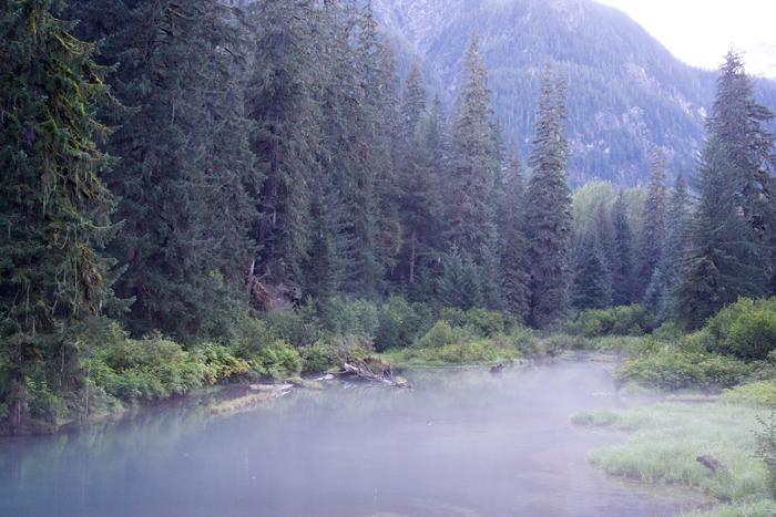 Fish Creek, Hyder, Alaska, at 9:30 PM