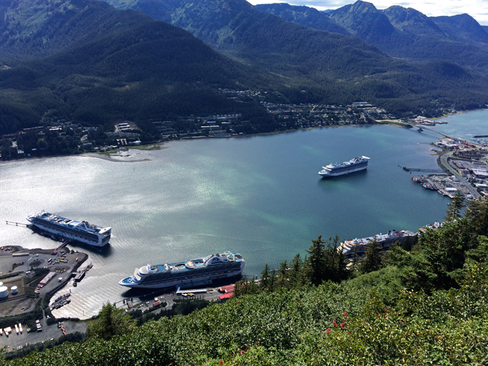 Five – Count 'Em, Five – Cruise Ships in Gastineau Channel (one is partially obscured); photo from Bishop Brown's Cross, Mount Roberts
