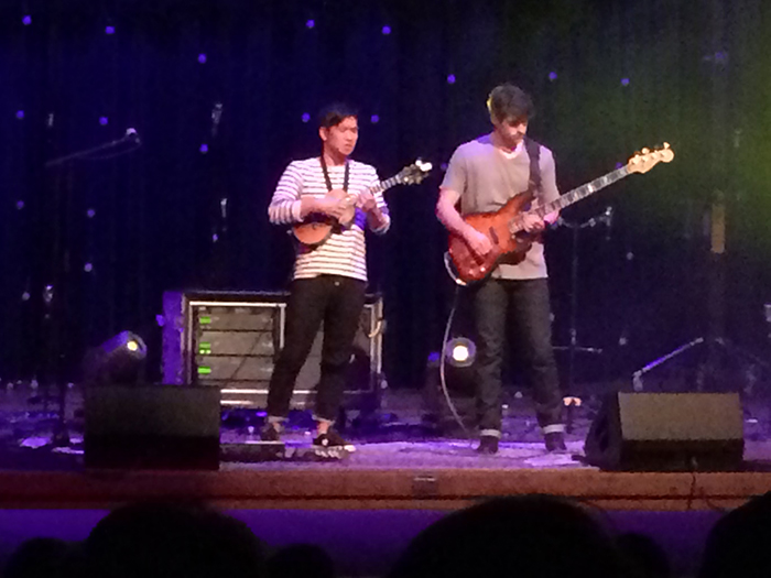 Jake Shimabukuro and Nolan Verner at the Jewett Auditorium (iPhone photo)