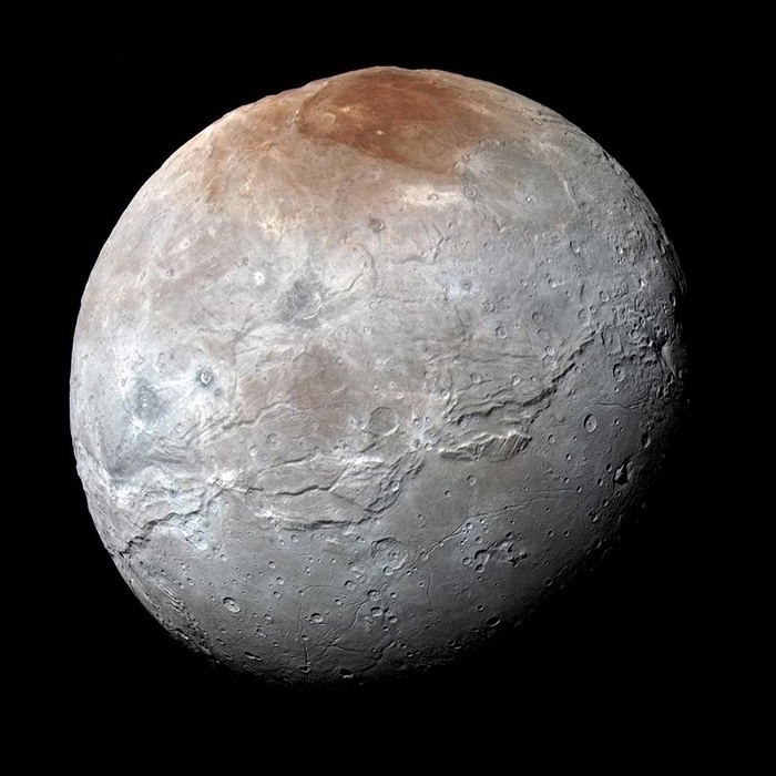 Enhanced color view of Charon, Pluto's largest moon