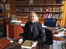 Chief Justice Dana Fabe in her chambers (photographer unknown)