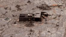 Remain of Bento Rodigues district which was covered with mud after a dam owned by Vale SA and BHP Billiton Ltd burst, in Mariana