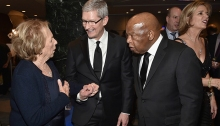 Ethel Kennedy, Tim Cook and Representative John Lewis Photographer: Theo Wargo/Getty Images