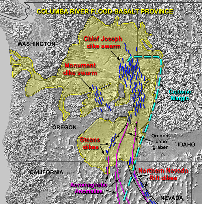 The Columbia River Basalt Group (including the Steen and Picture Gorge basalts) extends over portions of five states. Victor Camp and Martin Ross, via WikiCommons