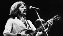 Glen Frey, onstage at Wembley Empire Pool in London on April 26, 1977. Photo by Gijsbert Hanekroot