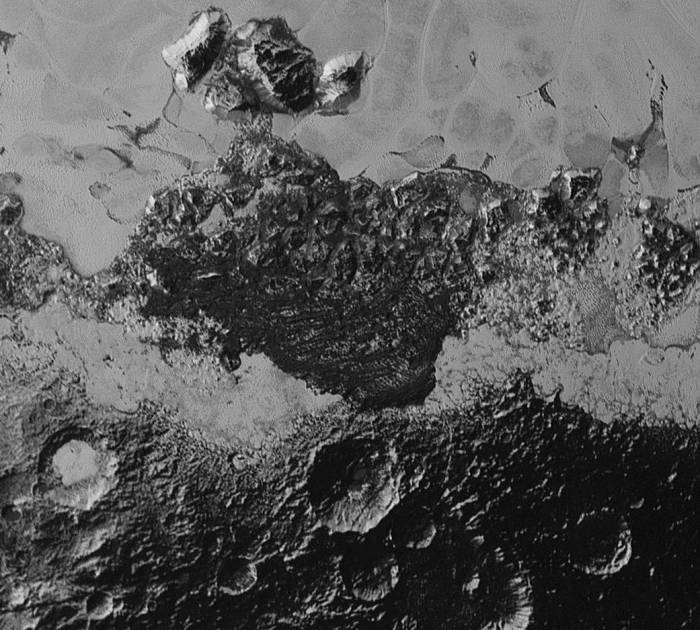 Ice mountains and plains of Pluto. The resolution is about 0.5 miles.