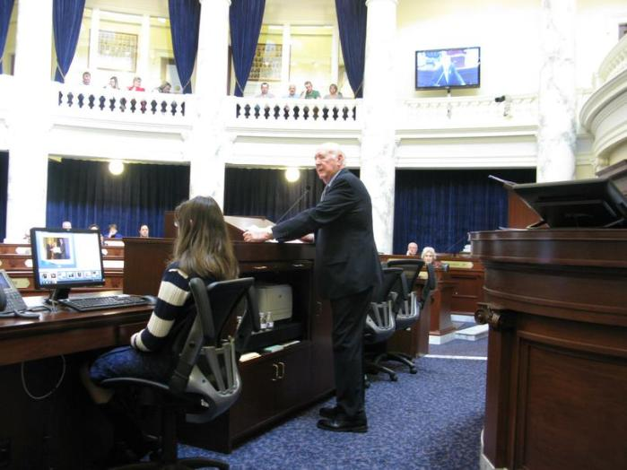Former Idaho Gov. Cecil Andrus addresses the Idaho House on Friday (Betsy Z. Russell)