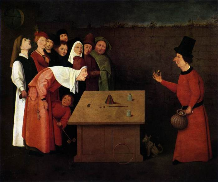 """The Conjuror,"" by Hieronymus Bosch (1496?). The painting accurately displays a performer doing the cups and balls routine, which has been practiced since Egyptian times."