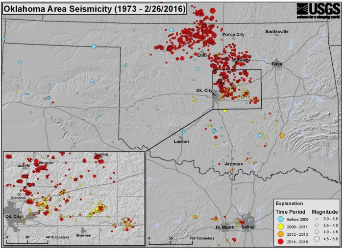 Seismicity map for Oklahoma and nearby areas – Dark blue circles indicate earthquakes from pre-2009 while circles of other colors indicate earthquakes since 2009.