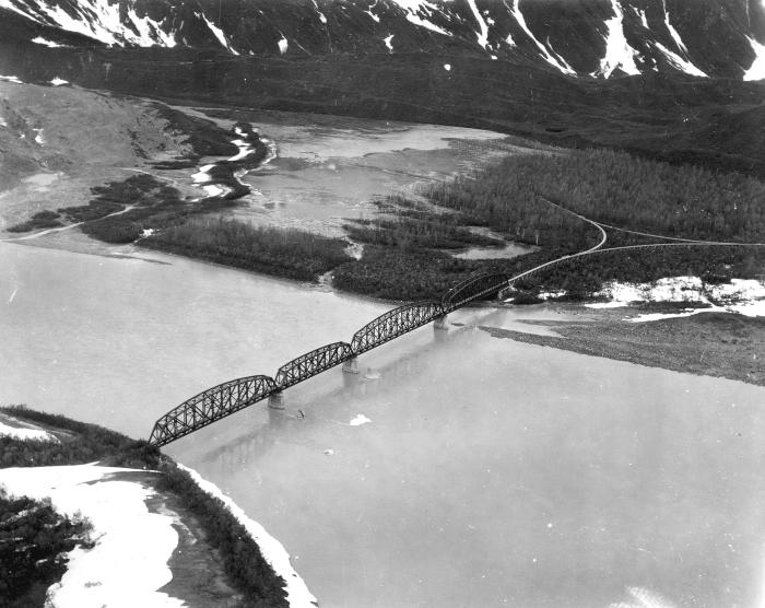 Miles Glacier Bridge, a/k/a Million Dollar Bridge, June 1956 (Photo by U.S.G.S.)