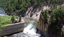Breached Sunbeam Dam on the Salmon River, Sunbeam, Idaho