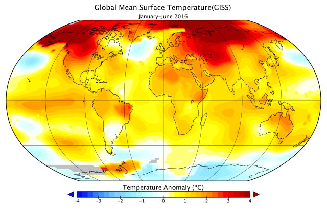 Regional temperature anomalies, Jan-Jun 2016. Source: NASA.