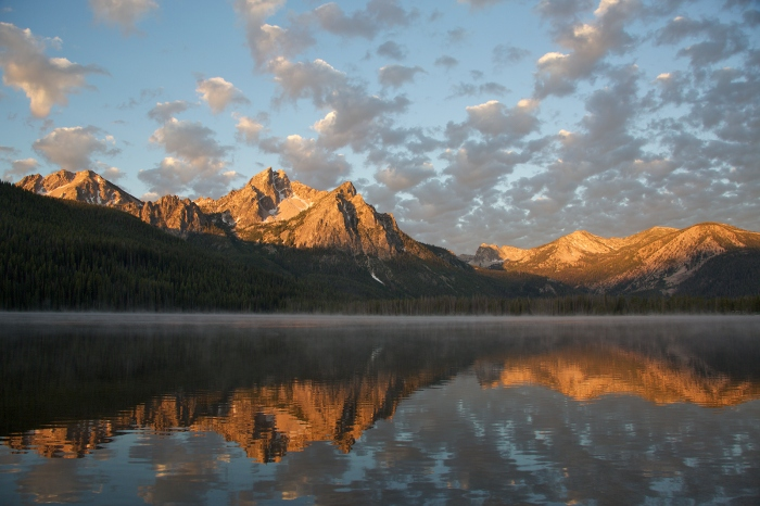 Stanley Lake and the Sawtooths at 6:10 AM