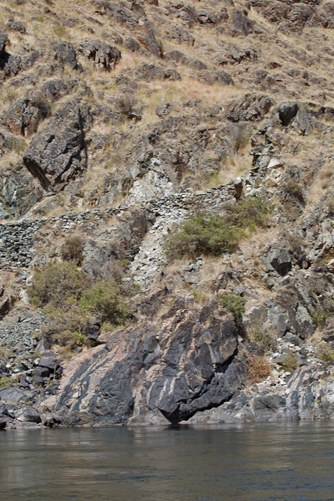 Serpentinite and ultramafic rock at bottom center, signature rock of ocean sea bottom. Note the CCC-built Hells Canyon Trail at the top.