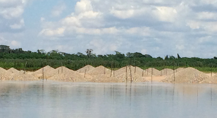 Mining tailings from illegal placer mining, Madre de Dios River, Peru
