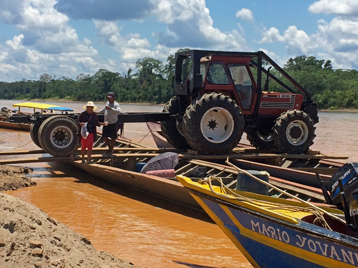 Industrialization creeps in to illegal mining, Madre de Dios River, Peru
