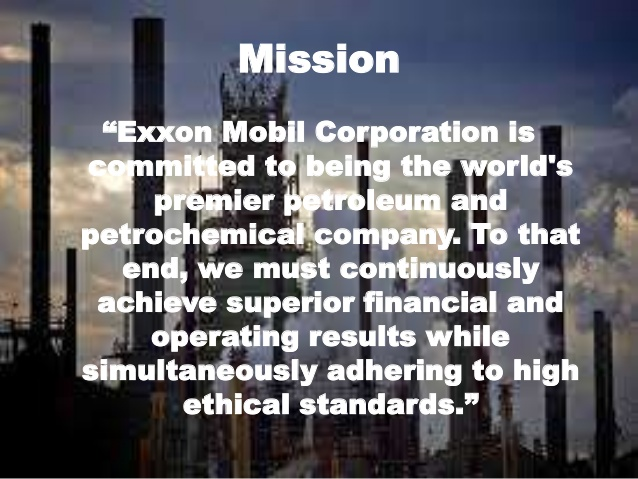 Exxon Mobiil's official mission statement