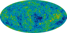 Nine Year Microwave Sky The detailed, all-sky picture of the infant universe created from nine years of WMAP data. The image reveals 13.77 billion year old temperature fluctuations (shown as color differences) that correspond to the seeds that grew to become the galaxies. The signal from our galaxy was subtracted using the multi-frequency data. This image shows a temperature range of ± 200 microKelvin. Credit: NASA / WMAP Science Team WMAP # 121238 Image Caption 9 year WMAP image of background cosmic radiation (2012)